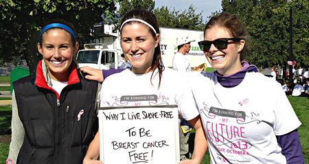 Participants at Run for The Cure 2013 answer why they live smoke free. Photo credit: START 2013