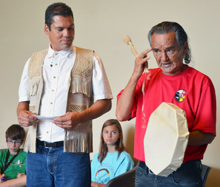 At the Indigenous Summer Scholars Camp, UBC student Alex Augier and Elder George Pierce give Aboriginal secondary students an appreciation of their environment and what it was like before settlers arrived.