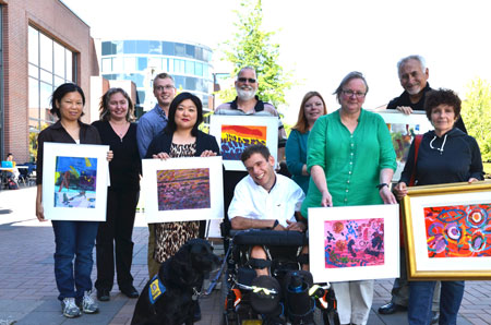 Back row from left: Bowen Hui and Alexandra Gretchko (nominator); Christopher Bitcon (nominator) and Scott Reid; Katie Poole (nominator) and Carlo Rasi. Front row from left: Ruthann Lee; Ember (assistance dog), Clayton March (nominator) and Trudy Kavanagh; Fern Helfand.