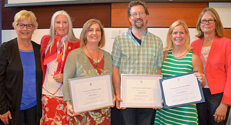From left: Lisa Castle, UBC vice president of human resources; Pauline Brandes, UBC Okanagan campus director of human resources; Robin Whittall, Staff Award of Excellence for Sustainability; Malcom Petch, Staff Aware of Excellence for Enhancing the UBC Experience; Tracey Hawthorn, Deputy Vice-Chancellor and Principal's Award of Excellence; and Deputy Vice-Chancellor and Principal Deborah Buszard. Absent is Sandra Mecklenburg, Staff Award of Excellence for Leadership.
