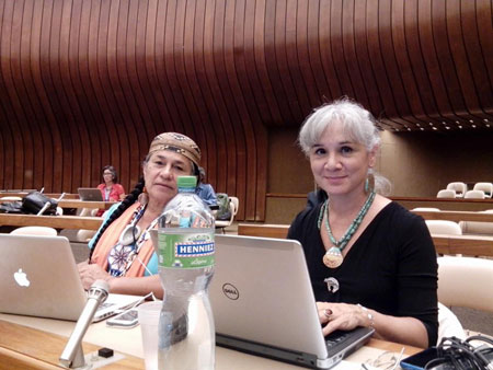 Margo Tamez, right, sits with Chief Caleen Sisk (Winnemum Wintu Tribe) in the Palais des Nations, during the UN Committee on the Elimination of Racial Discrimination, 85th Session, Review of the United States.