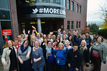 UBC students and staff cheer results of the student union #MoreLibrary yes vote referendum.