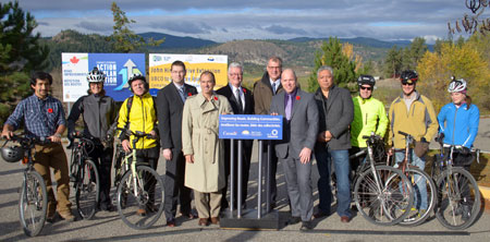 Pictured are: Fabian Cid Yanez, Jacquetta Benard, Robert Whiteley, Michael Shakespeare, all from UBC; Kelowna-Lake Country MLA Norm Letnick; Kelowna Mayor Walter Gray; Kelowna-Mission MLA Steve Thomson; Kelowna-Lake Country MP Ron Cannan; Okanagan Band Chief Byron Louis; and Brian Heichert, Paul Shipley and Ashlee Robinson, from UBC.