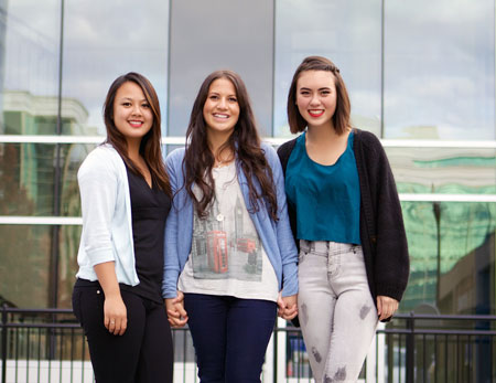 Fourth-year nursing students, Lynn Tran, Taya Vilac, and Alysa Mortimore (l-r) are helping PEACE of Mind raise awareness about mental health and eating disorders that affect children and youth.