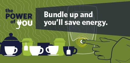 Bundle up to save energy graphic