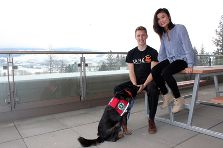 Students Charlie Drummond and Christy Hui have organized BARK2GO and will station volunteers and therapy dogs in three different locations across campus every Wednesday.