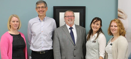 From left: Vernon Integrated Community Clerkship Director Dr. Carmen Larsen, Vernon Family Physician Dr. George Borchert, MLA Eric Foster, and UBC medical students Julia Hassler and Erin Charman help official open new UBC space at Vernon Jubilee Hospital