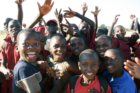 Some of the Zambian children who took part in UBC's happiness study. Photo by Alexa Geddes