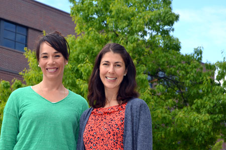 Asst. Prof. Cristina Caperchione, left, and research assistant Marianne Clark
