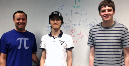 From left: Associate Professor of Mathematics Wayne Broughton and Putnam Mathematical Competition participants Byoungsung Lee and and Joel Therrien.