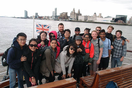 Group shot of the Go Global UK students on a ferry in Liverpool.