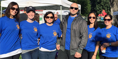 Graduate students from the clinical psychology program (from left: Diana Lisi, Pamela Black, Dr. Lesley Lutes (Director of Clinical Training), Drew DeClerck, Marina Le, and Carmela White) volunteered with the BC SPCA for annual Paws for a Cause.