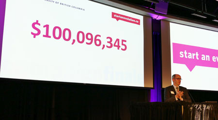 Ross Langford, Okanagan chair for UBC's Start an Evolution campaign, announced the campaign's fundraising total at a closing ceremony on October 17.