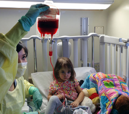 Four-year-old Nadia found a suitable stem cell match through a cord blood registry (a database that catalogues voluntary donations of umbilical cord blood). Her family encourages more people to become blood and stem cell donors.