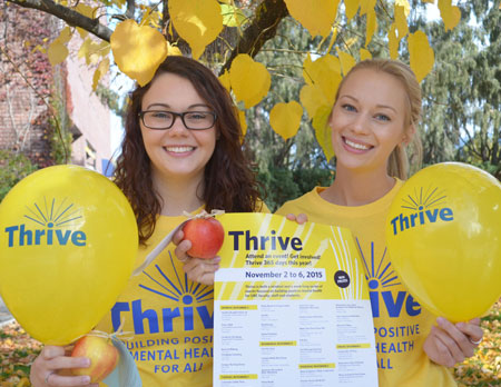 Fourth-year nursing students Kristin Booth, left, and Jessica Bergen are excited about Thrive 365. The week-long series of events kicked-off with a Healthy Breakfast on Monday. All Thrive events are free and open to the campus community.