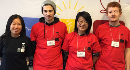 Computer Science Instructor Bowen Hui with students (from left): Emerson Kirby, Ashley Wong, and Kevin Van Kessel.