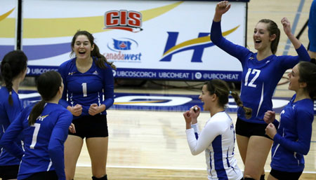 A backs-to-the-wall five set comeback for the Heat over the Pandas on Saturday night in a heavyweight Canada West women's volleyball match.