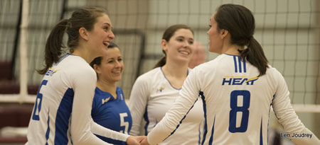The number one ranked Heat close out their final road game in style sweeping MacEwan University in three sets.