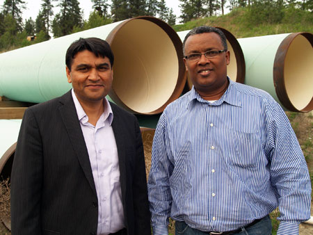 Rehan Sadiq, left, and Solomon Tesfamariam are working to improve municipal drinking water systems.