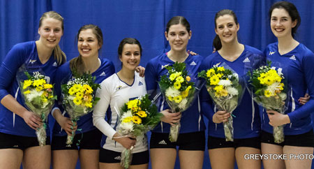 The UBC Okanagan women's volleyball team win in three sets to complete the sweep of MRU and lock down the best record of the regular season. UBC Okanagan Will host Canada West Championship on March 4 and 5.