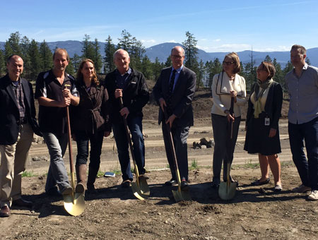 A research partnership involving partners from industry has broken ground in Kelowna. From left, MLA Norm Letnick, Scott Tyerman of AuthenTech Homes, Karin Eger-Blenk and Russ Foster of the Blenk Development Corp., Jim Hamilton of Okanagan College, Deborah Buszard of UBC Okanagan, Carol Suhan of FortisBC, and MP Stephen Fuhr helped mark the occasion.