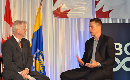 Pat Kennedy, managing director of the Central Okanagan Sports Hall of Fame, interviews retired professional soccer player Rob Friend at UBC Okanagan's 11th annual Valley First/UBC Okanagan Athletics Breakfast.