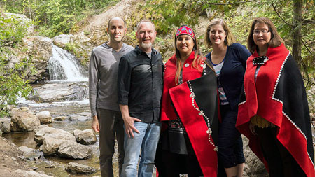 Professor Christine Schreyer, (second from right) has combined her passion for restoring languages with her Hollywood connections. While working on her new documentary, she brought film director Britton Watkins, cinematographer Josh Feldman together with Nicole Gordon and Louise Gordon with the Taku River Tlingit.