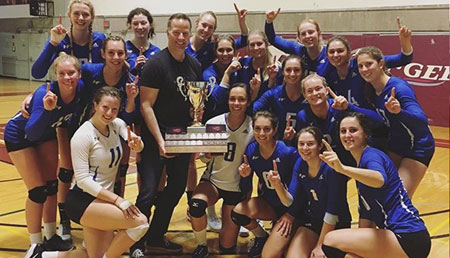UBC Okanagan Heat women's volleyball continue their all-Canadian run with a dominant performance in the nation's capital. (Pictured with the trophy and Stephen Fuhr).