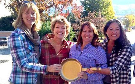 Team Cube won the first-ever UBC Okanagan Great Pancake Race Oct. 11, claiming the Golden Frying Pan.