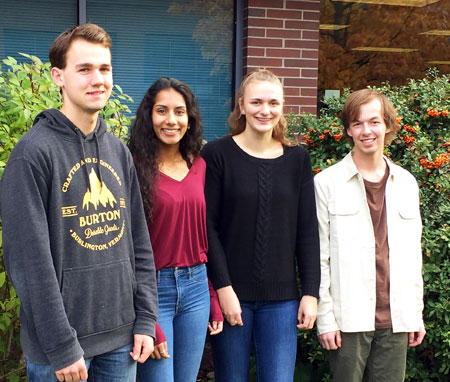 First-year Bachelor of Science students (from left) Thomas Girard, Gurpreet Saini, Alyssa Liegmann and Kohl Finlayson each received $2,500 towards tuition from the Rick and Yasmin Thorpe and Friends Scholarship foundation.