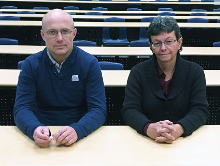From left: Andis Klegeris, associate professor of biology, and Heather Hurren, the Centre for Teaching and Learning's manager of academic development.
