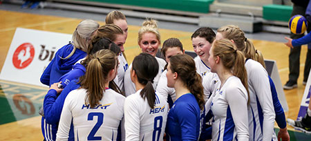 The Heat women's volleyball season ends in Edmonton with three set loss to Trinity Western.