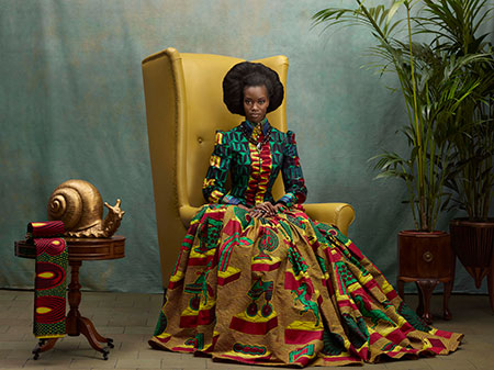 "Vlisco wax-print dress from the ""Hommage à L'Art"" collection, 2013. Inge van Lierop, designer. Courtesy Vlisco Museum, Foundation Pieter Fentener van Vlissingen, Helmond, the Netherlands."