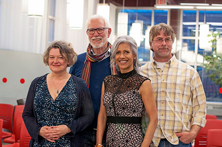 The 2017 Okanagan Short Story Contest winners, from left: Karen Hofmann, Michael Griffin, UBC Writer in Residence Renée Sarojini Saklikar and Cliff Hatcher.