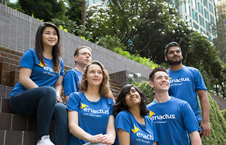 The Enactus UBC Okanagan team competing at the national exposition included, from left, Kim Duong, Erkki Annala, Nicole Michalewicz, Ishita Ashraf, Tristan Ramsay and Puru Pradhan.