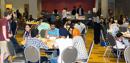 Students gather for an Iftar dinner following the 2017 Fast-a-Thon.