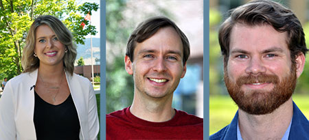 From left: Kimberley Kaseweter, Logan Volkmann and Geoff Coombs have all been awarded UBC Killam Doctoral Scholarships.