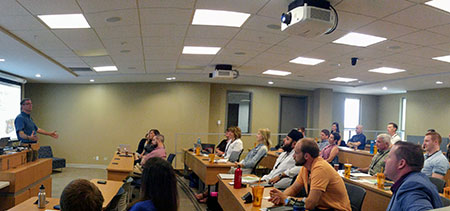 Master of Management students at the introduction for the intensive in-residence session.