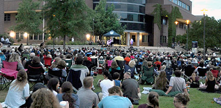 Hundreds of opera lovers enjoy an open-air concert by Opera Kelowna at last summer's Opera Under the Stars in the central courtyard at UBC Okanagan. This year, Opera Under the Stars takes place Aug. 2, starting at 8:30 p.m.