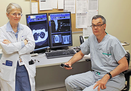 Drs. Michael Humer and Barbara Campling are part of a thoracic oncology team that treats cancer patients via telemedicine.