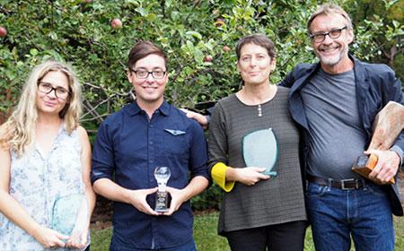 From left: FCCS award winners Shona Harrison, Myron Campbell, Denise Kenney, Michael Treschow