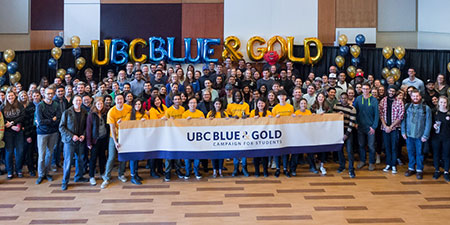 UBC's Blue and Gold fundraising campaign for students kicked-off at the university on November 27 to a capacity crowd.
