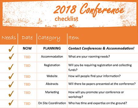 Conferences & Accommodation checklist graphic