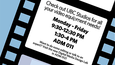 Graphic for UBC Studios and IT Helpdesk changing hours item.