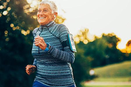 Image of a senior woman jogging