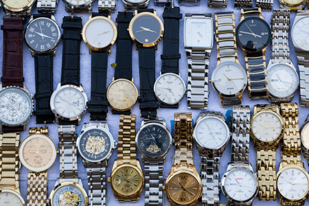 Fake and counterfeit wristwatches are a common site in the local street market stalls of Bangkok, Thailand.