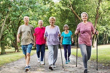 Group of seniors walking in park - Stock image