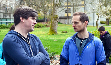 UBC Okanagan students Stefan Bigsby, right, and Jackson Traplin debrief after their tour of the UBC Vancouver campus. Both were part of the cohort of UBC Okanagan students and staff who attended the opening of the Indian Residential School History & Dialogue Centre this spring.