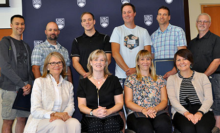Top row from left: Trevor Odlum, Chase Tompkins, Paul Crang, Andy Fehr and Paul Clancy. Bottom row from left: Deborah Buszard, Marlis Wecels, Barbara Sobol and Adrienne Vedan.