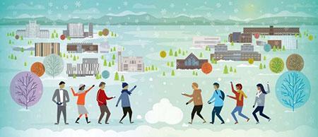 A 2018 UBC Christmas card image from Santa Ono's latest blog post